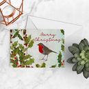 Robin In The Holly A5 Christmas Card