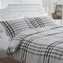 Charcoal And Grey Check Brushed Cotton Duvet Cover Set