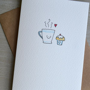 Personalised 'Coffee Loves Cake' Hand Illustrated Card