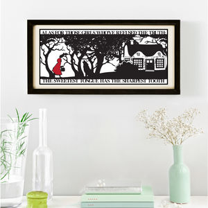 Red Riding Hoods Folly Signed Papercut Print - pictures & prints for children