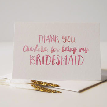 Thank You For Being My Bridesmaid Personalised Card