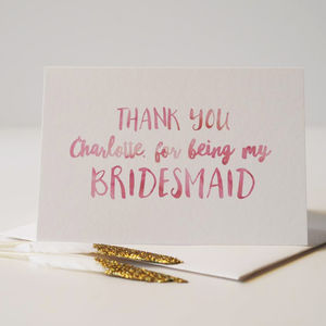 Thank You For Being My Bridesmaid Personalised Card - thank you cards