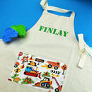 Trucks And Diggers Personalised Children's Apron