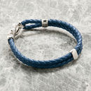 Men's Leather Double Woven Bracelet With Silver Clasp