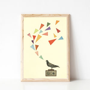 Pigeon Radio Bird Musical Art Print