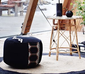 Black And Rose Pouffe