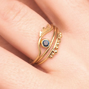 18k Gold 'Horus' Set Of Three Rings - rings