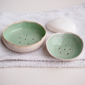 Handmade Turquoise Ceramic Soap Dish - bathroom