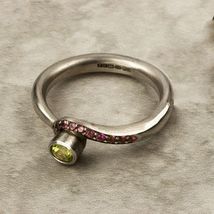 Colourful Peridot And Tourmaline Ring