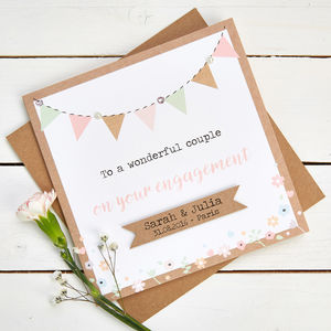 Engagement Card Personalised Kraft And Pastel Bunting - wedding, engagement & anniversary cards