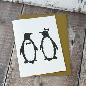 Penguin Pairs Card - wedding cards