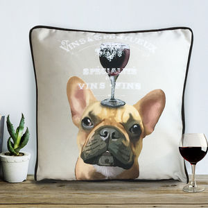French Bulldog Cushion, Dog Au Vin Wine Gift - cushions