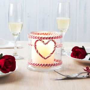 Candle Holder With Rope Heart - decorative accessories