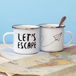 Let's Escape Paper Plane Enamel Mug - tableware