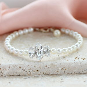 Triple Marquise Diamante And Pearl Bracelet