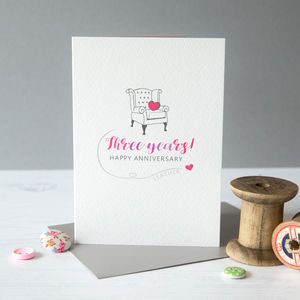 Third Wedding Anniversary Card Leather - shop by category