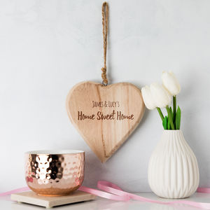 Personalised Home Sweet Home Heart Sign - housewarming gifts