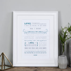 'Love Is' Anniversary And Wedding Print - literature