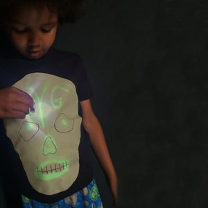 Skull Light T Shirt A Draw In The Dark Glow Up T Shirt - adults