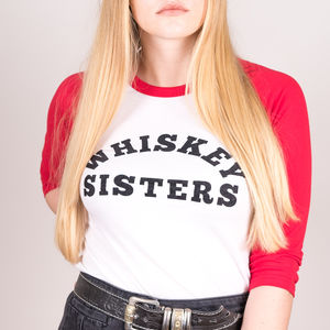 'Whiskey Sisters' Slogan Baseball Tee - tops & t-shirts