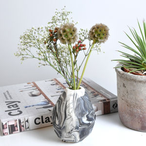 Handmade Marbled Porcelain Bud Vase - living room