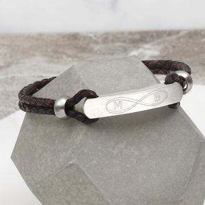Mens's Infinity And Secret Message ID Bracelet