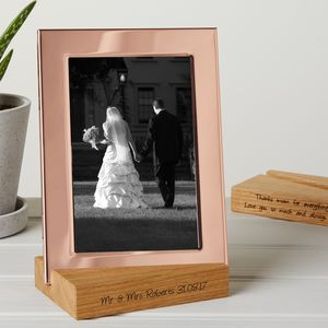 Copper Photo Frame With Personalised Stand - picture frames