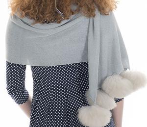 Alpaca Fur Pom Pom Frosted Wrap - womens