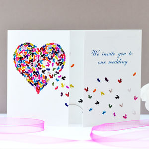 Butterfly Heart Wedding Invitation - invitations