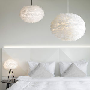 White Feather Lampshade Living Room