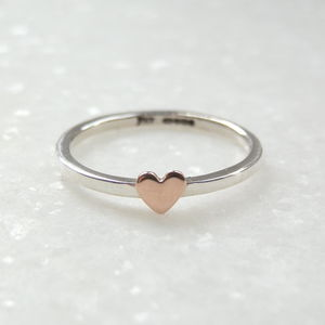 9ct Gold Heart And Silver Stacking Ring - rings