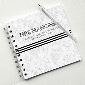 Monochrome Floral Teacher Notebook - gifts for teachers
