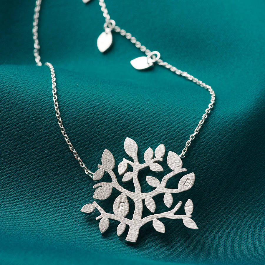 sterling jewelry products necklace burnish by tree family silver