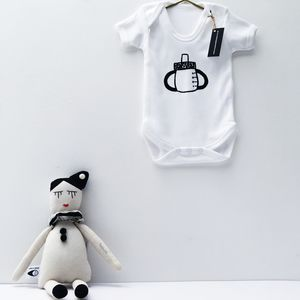 Monochrome Sippy Cup Baby Grow - whatsnew