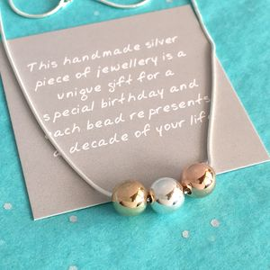 30th Birthday Three Tone Bead Necklace