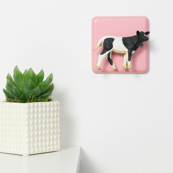 Pastel Pink Light Switch With Cow