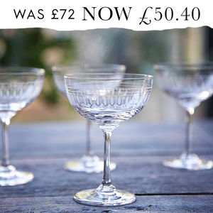 Set Of Six Oval Art Deco Style Champagne Saucers - the ultimate lust list