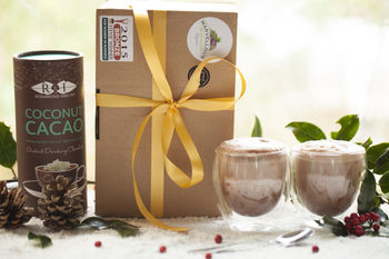 Coconut Cacao And Hand Blown Drinking Glasses Gift Set