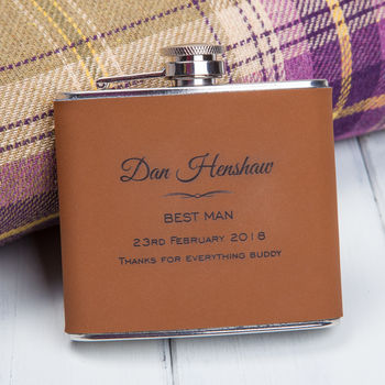 Personalised Brown Faux Leather Best Man Hip Flask