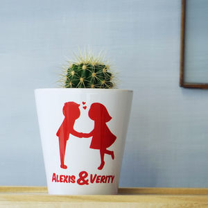 Personalised Kissing Couples Plant Pot - engagement gifts