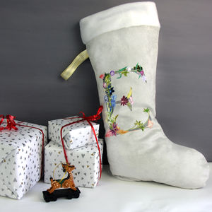 Personalised Floral Letter Christmas Stocking Gift - stockings & sacks
