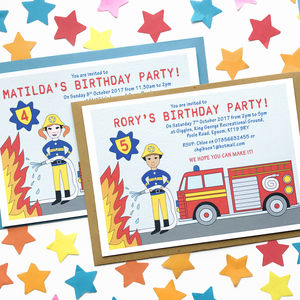 Firefighter Child Birthday Party Invitations - children's parties