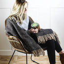 Black Herringbone Wool Throw