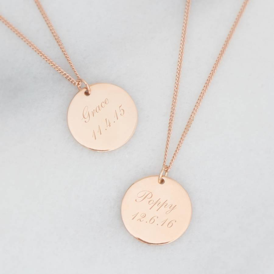 delicate disc wandergirljewelry tag circle little listing n gold dainty necklace simple