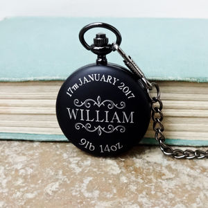 Engraved Newborn Baby Pocket Watch For New Daddy - watches