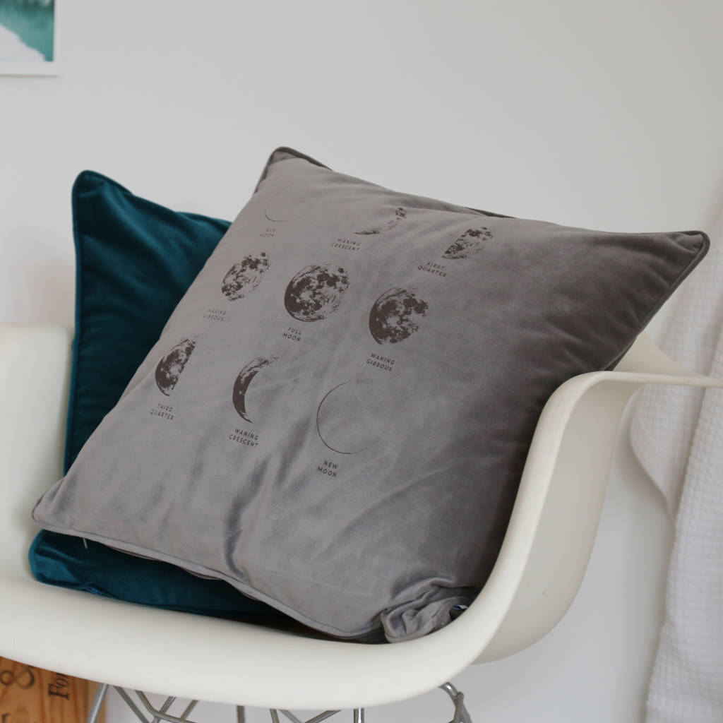 Moon Phases Velvet Cushion