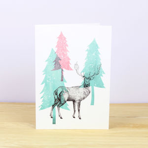 Winter Stag Christmas Card - christmas cards