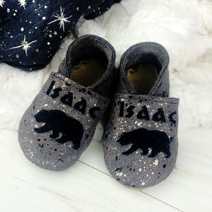 Personalised Moonstone Polar Bear Baby Shoes - family christmas collection