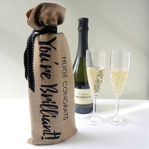 Congratulations Personalised Alcohol Bottle Bag - ribbon & wrap