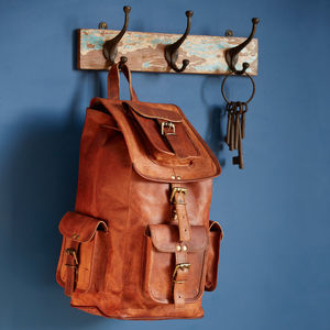 Large Brown Leather Rucksack - men's accessories